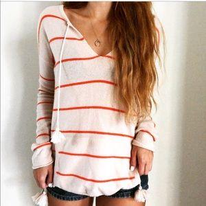 Autum Cashmere Pullover V Neck Tassel Sweater